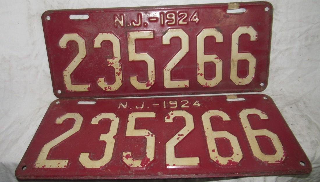 Pair of 1924 NJ License Plates