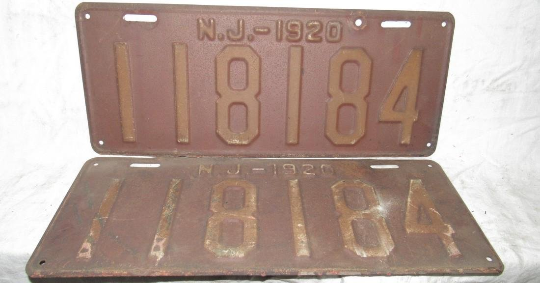 Pair of 1920 NJ License Plates