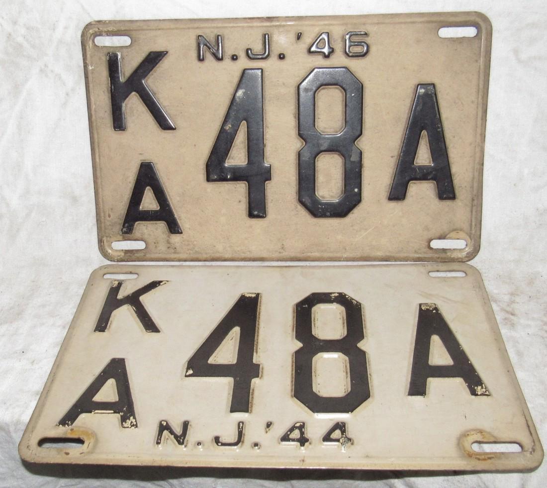 Pair of 1946 NJ License Plates