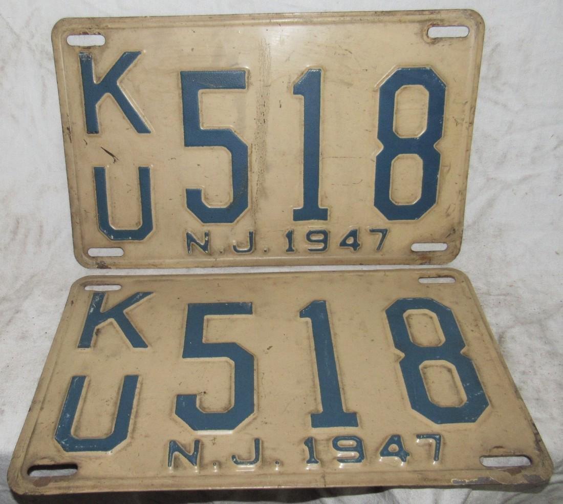 Pair of 1947 NJ License Plates