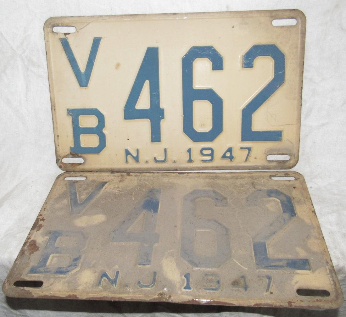 Pair of 1947 NJ License Plates