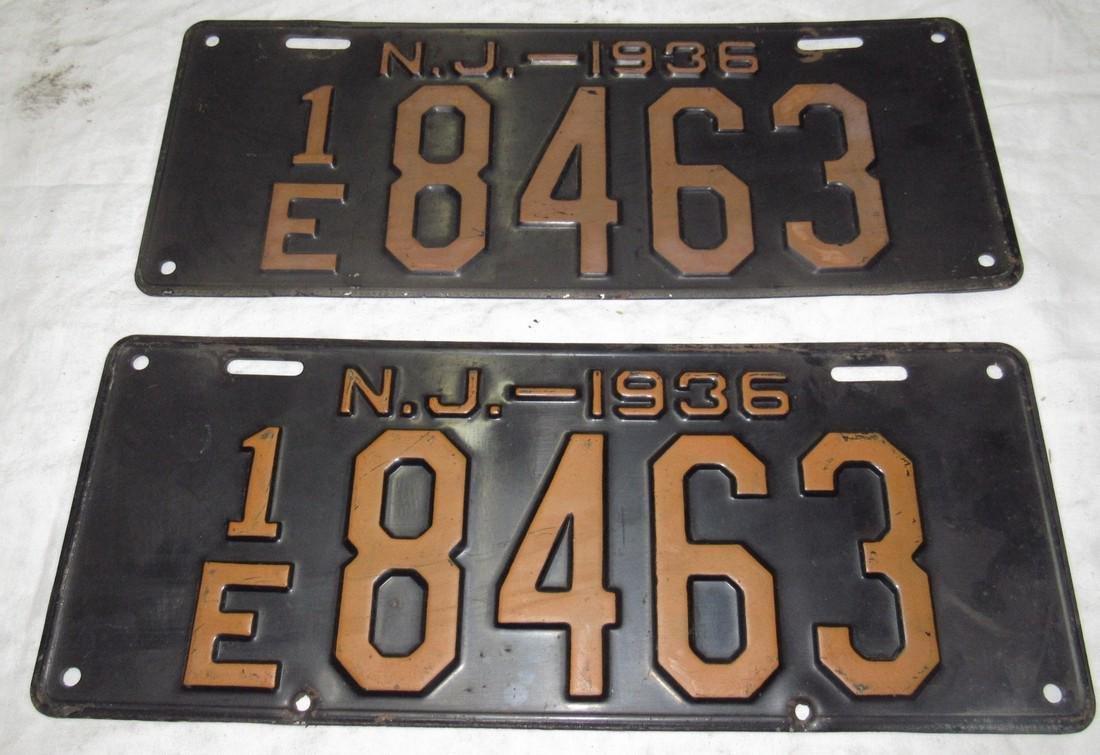 Pair of 1936 NJ License Plates