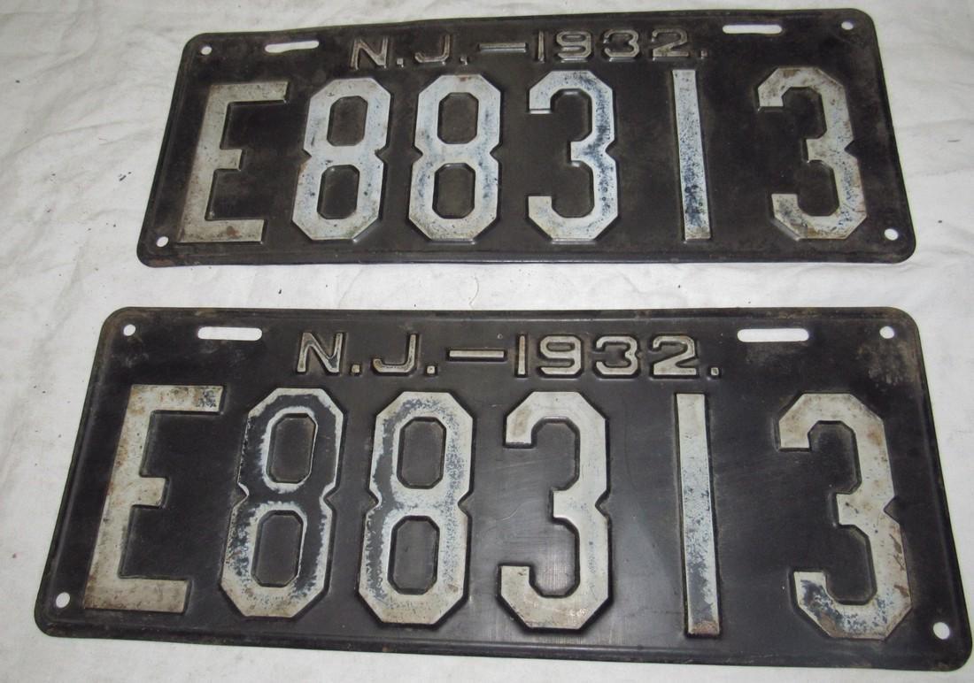 Pair of 1932 NJ License Plates