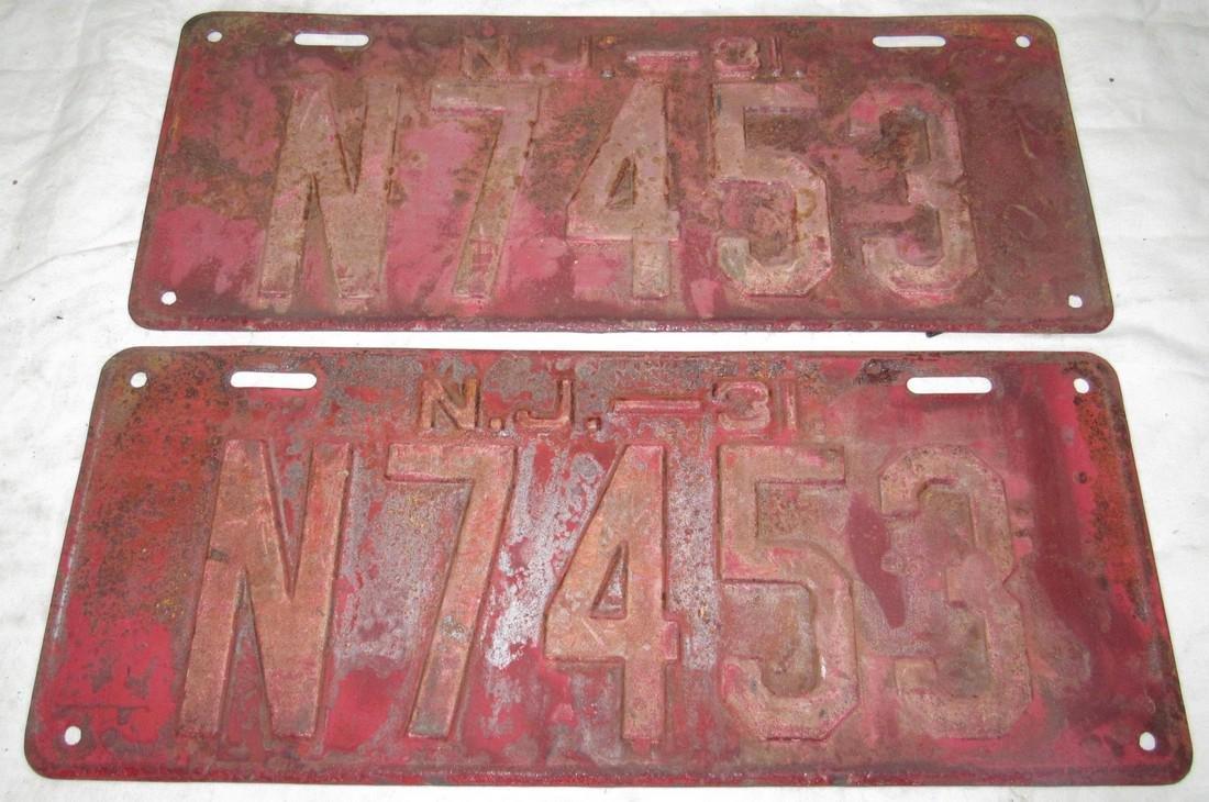 Pair of 1931 NJ License Plates