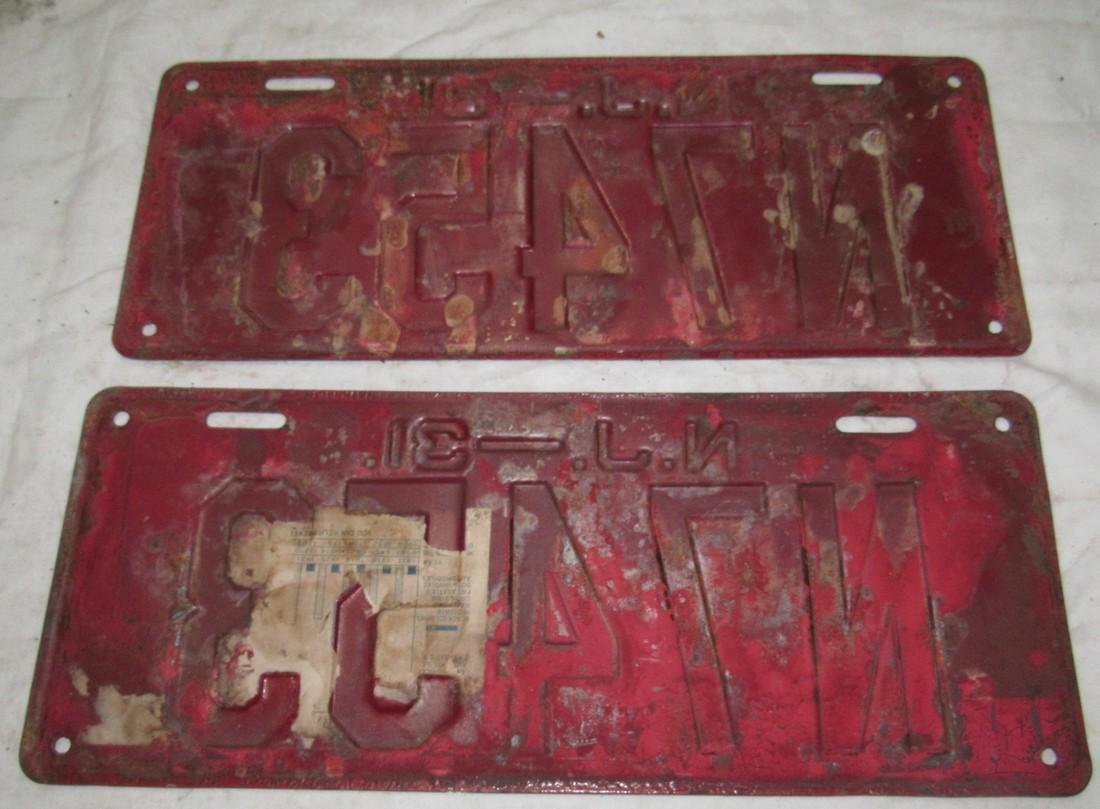 Pair of 1931 NJ License Plates - 2