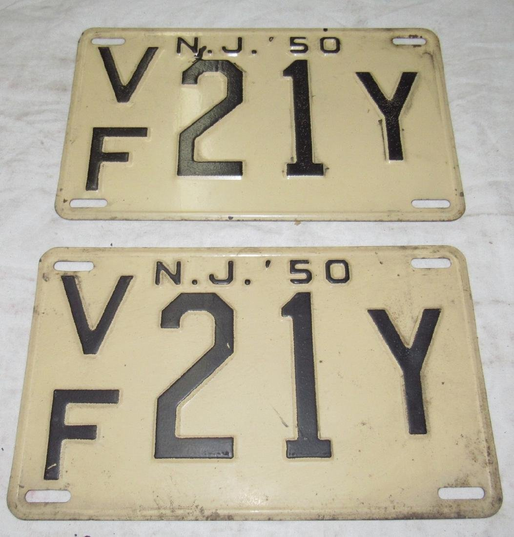 Pair of 1950 NJ License Plates