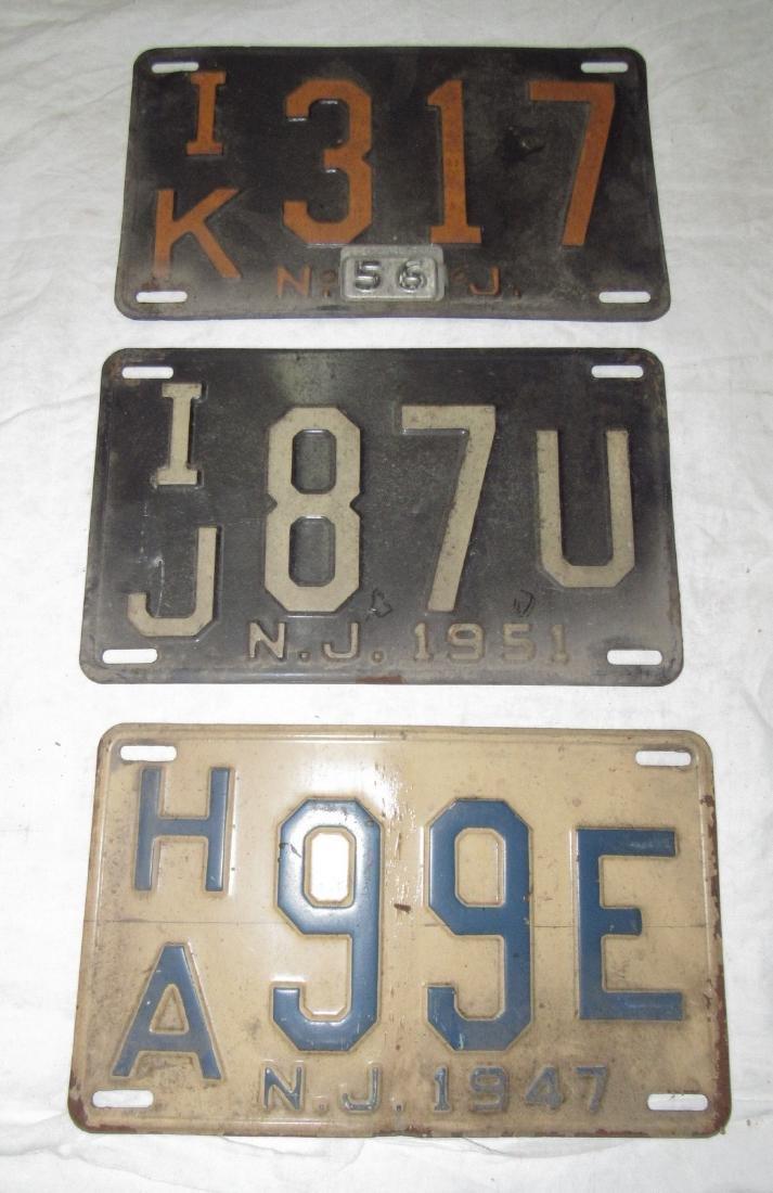 3 NJ License Plates 1956 1951 1947