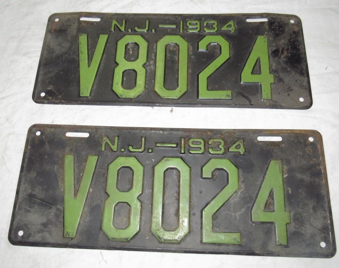 Pair of 1934 N J License Plates