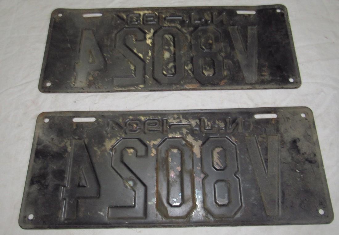 Pair of 1934 N J License Plates - 2