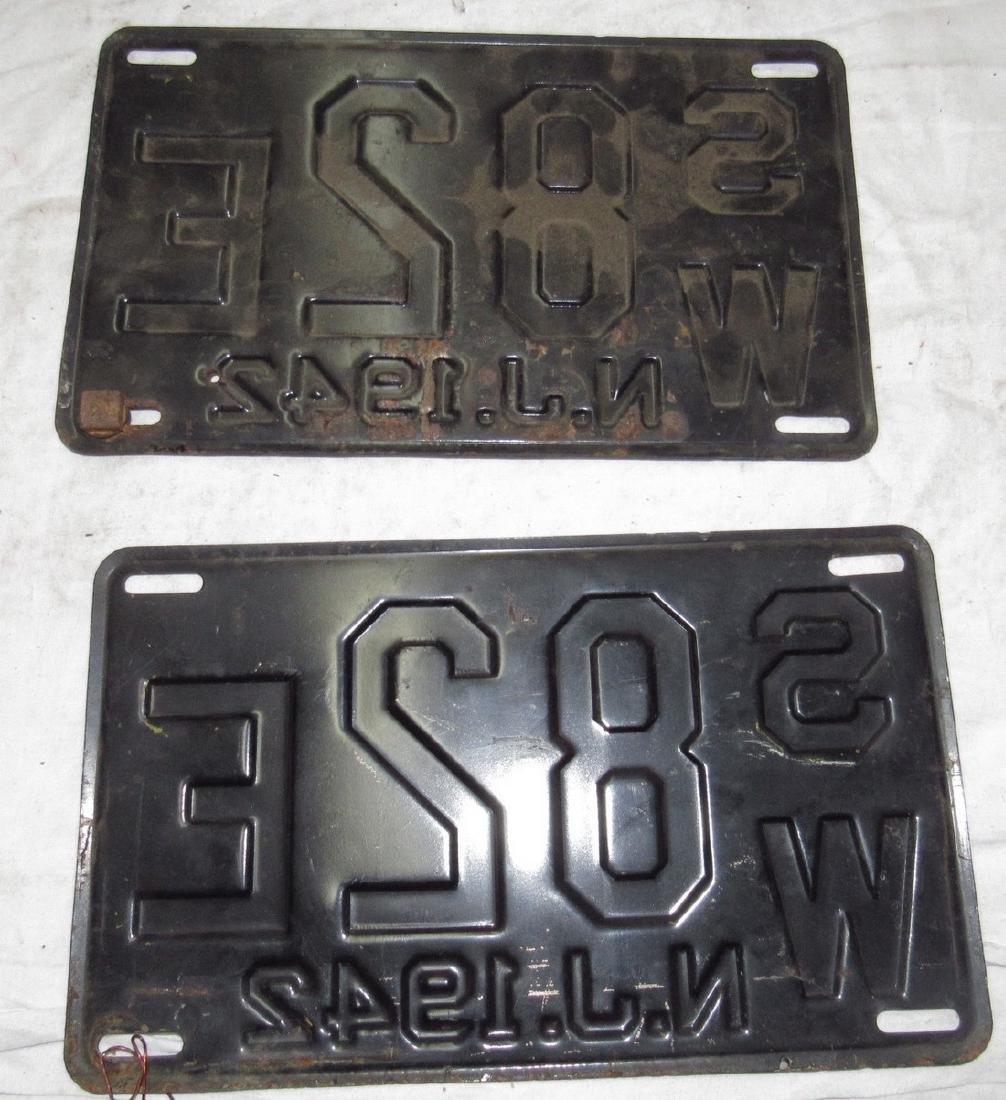 Pair of 1942 NJ License Plates - 2