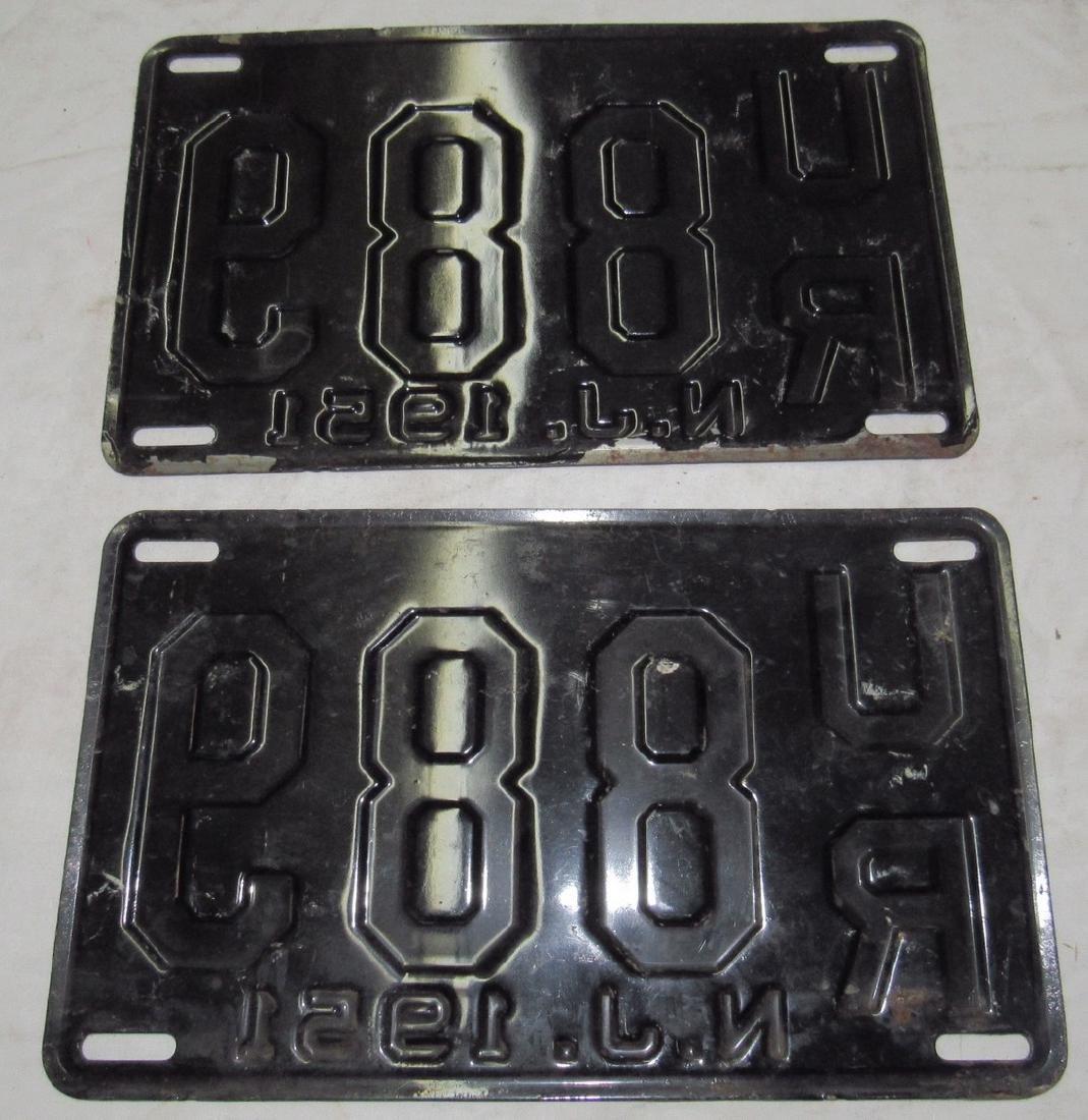 Pair of 1951 NJ License Plates - 2