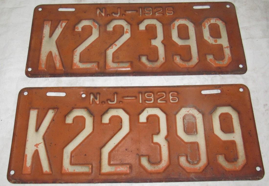 Pair of 1926 NJ License Plates