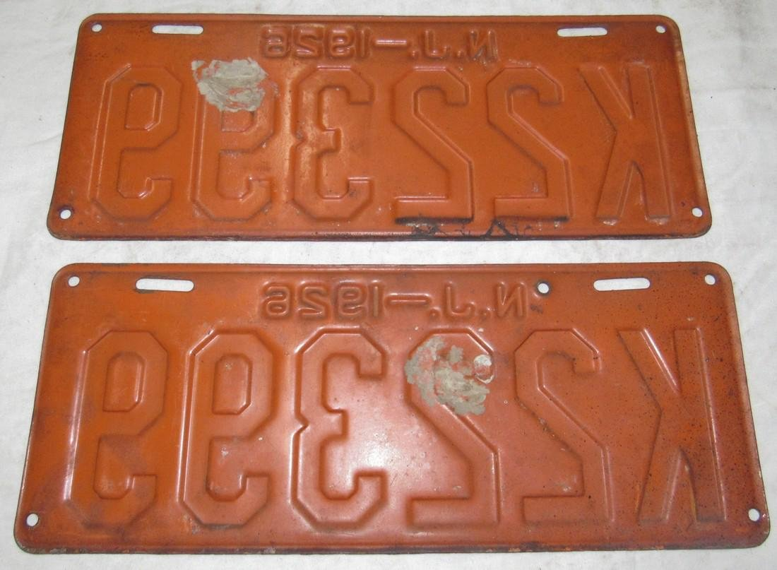 Pair of 1926 NJ License Plates - 2