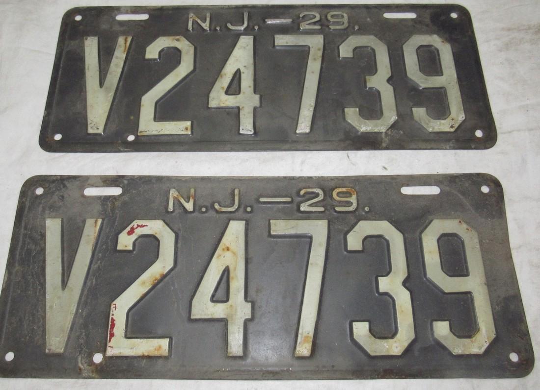Pair of 1929 NJ License Plates