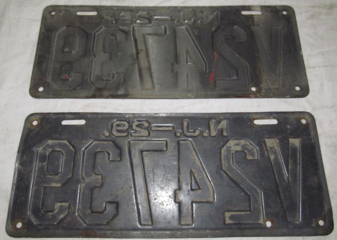 Pair of 1929 NJ License Plates - 2