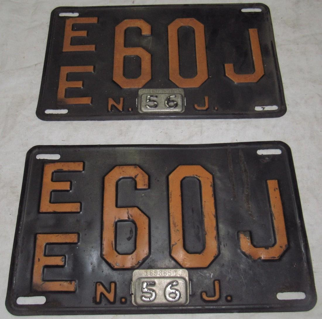 Pair of 1956 New Jersey License Plates