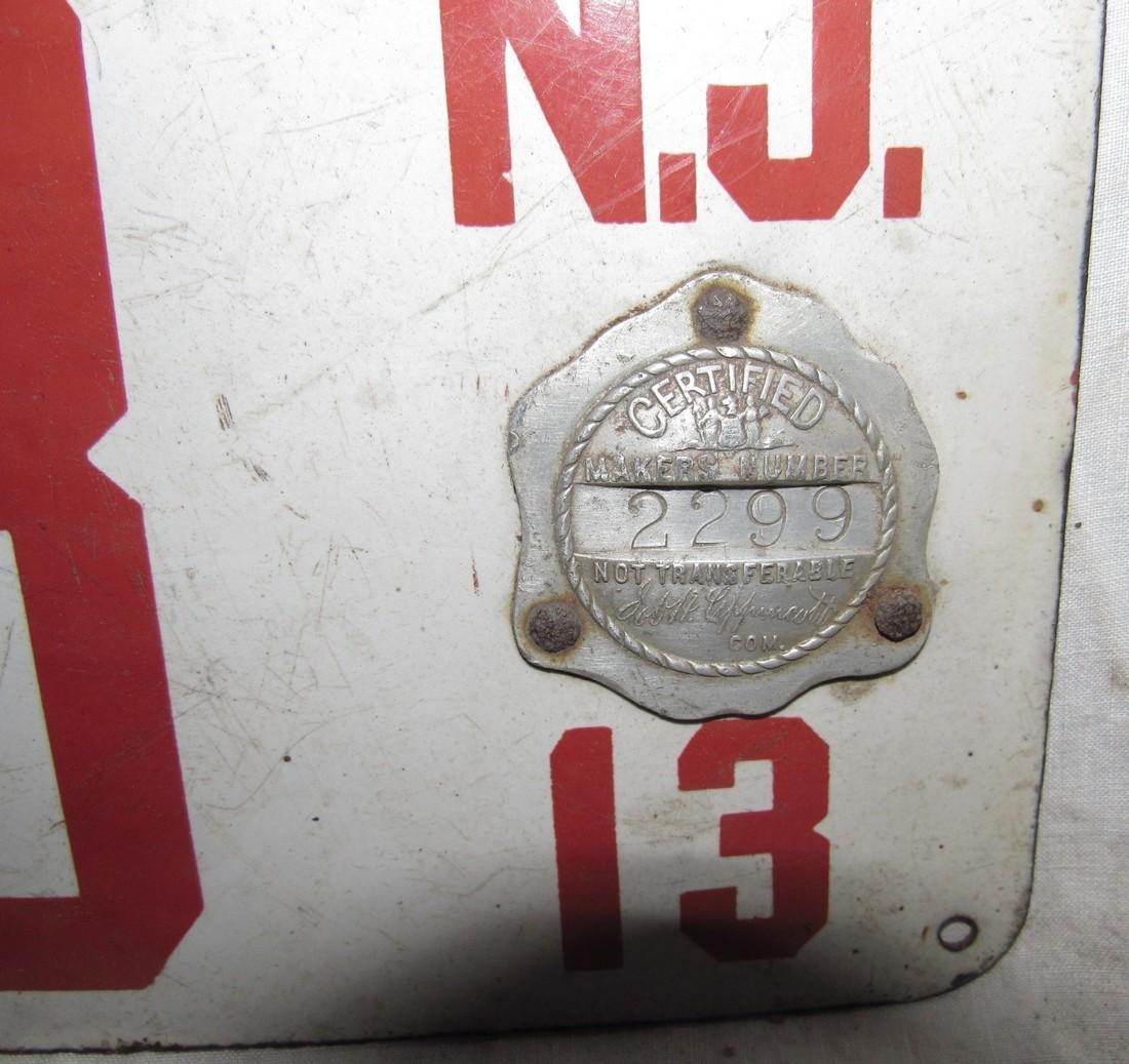 1913 NJ Porcelain License Plate - 2