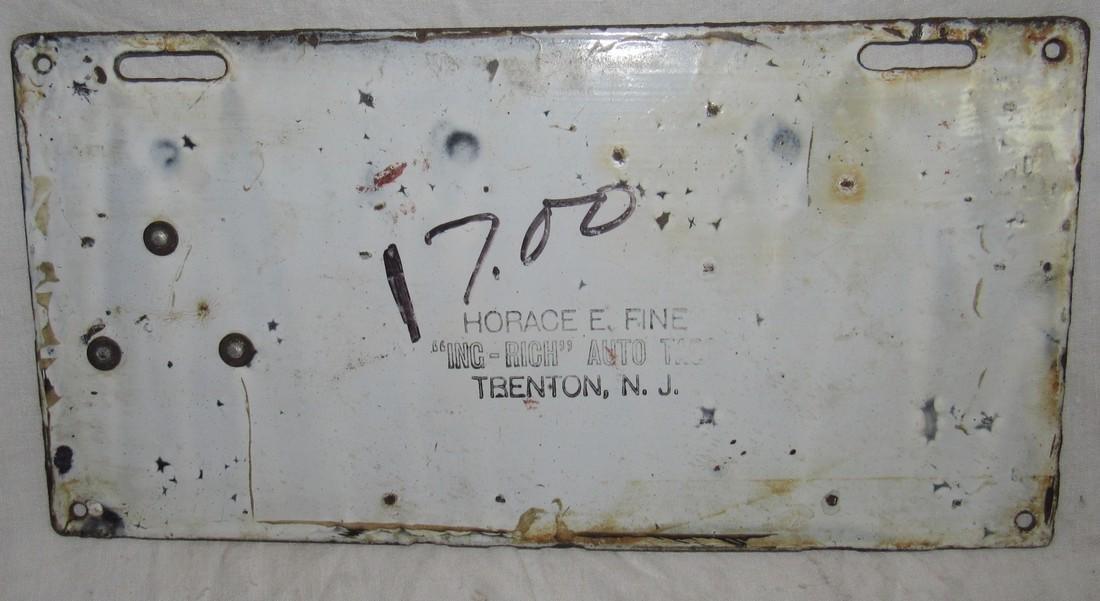 1909 NJ Porcelain License Plate - 3