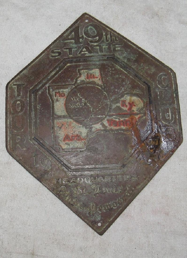 1927 49th State Tour Club St Louis Bumper Tag