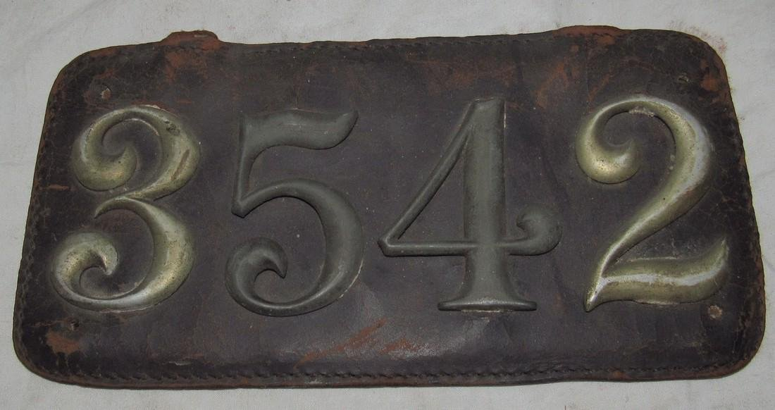 Antique Leather Car License Plate