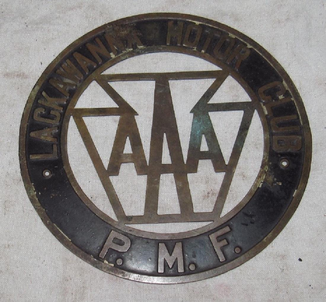Lackwanna Motor Club AAA P.M.F Brass License Plate