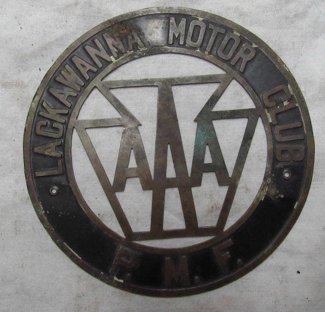 Lackwanna Motor Club AAA P.M.F Brass License Plate - 2