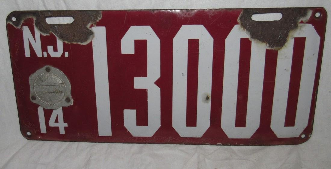 1914 Porcelain NJ License Plate