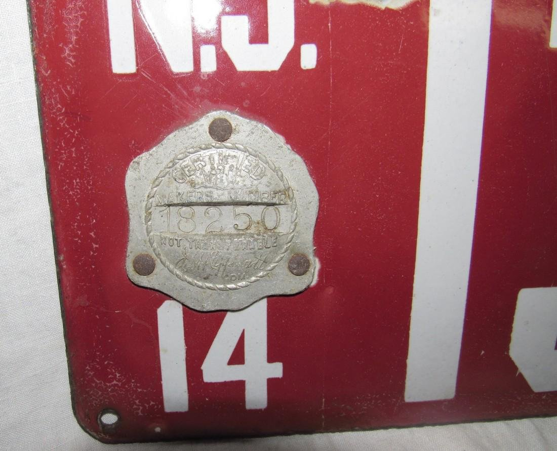 1914 Porcelain NJ License Plate - 2