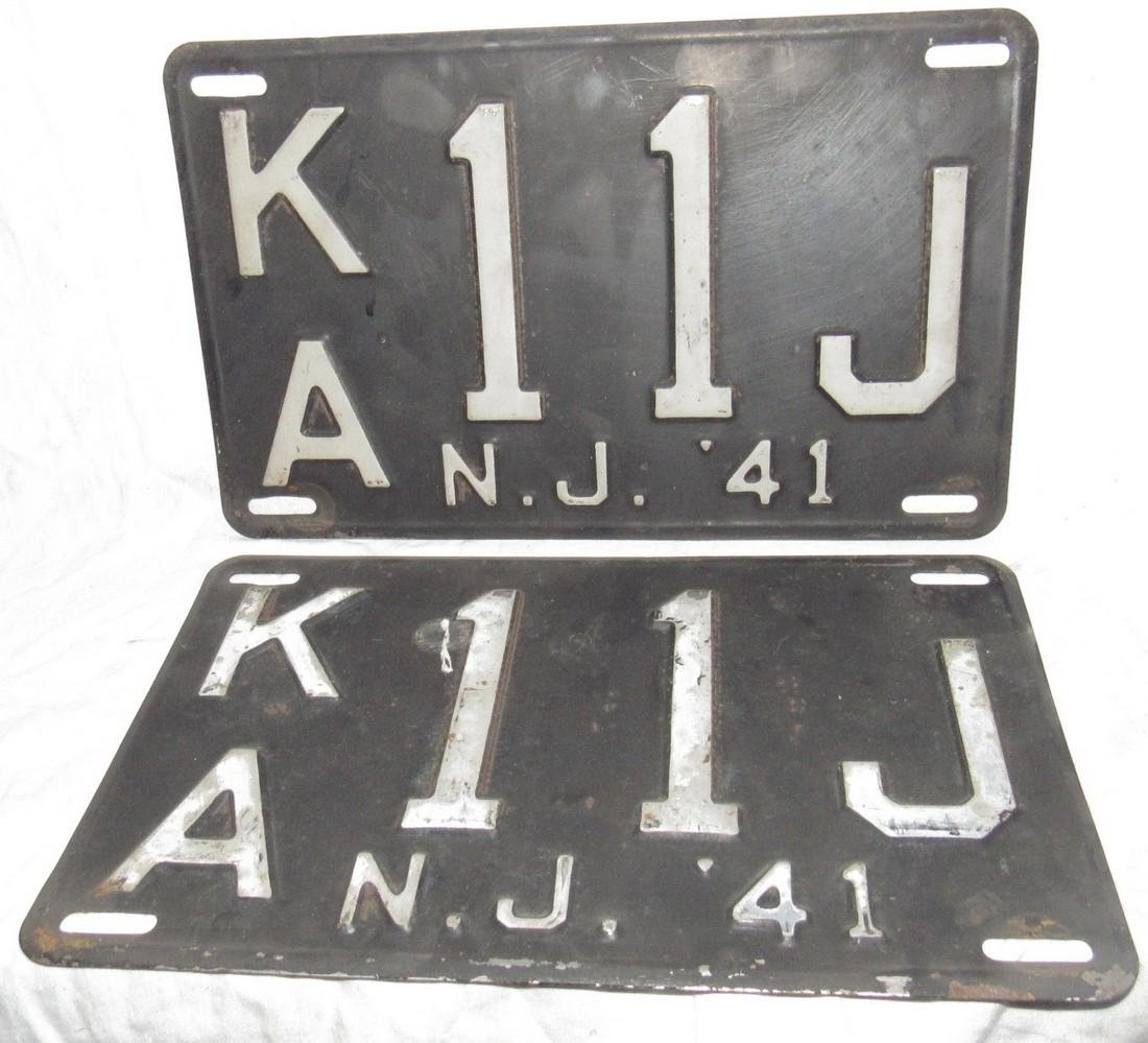 Pair of 1941 NJ License Plates