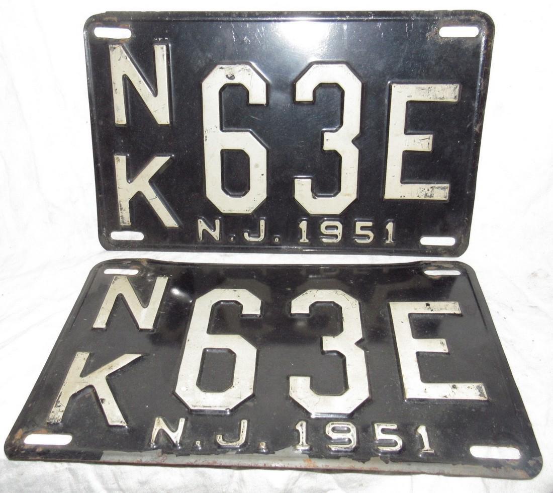 Pair of 1951 NJ License Plates