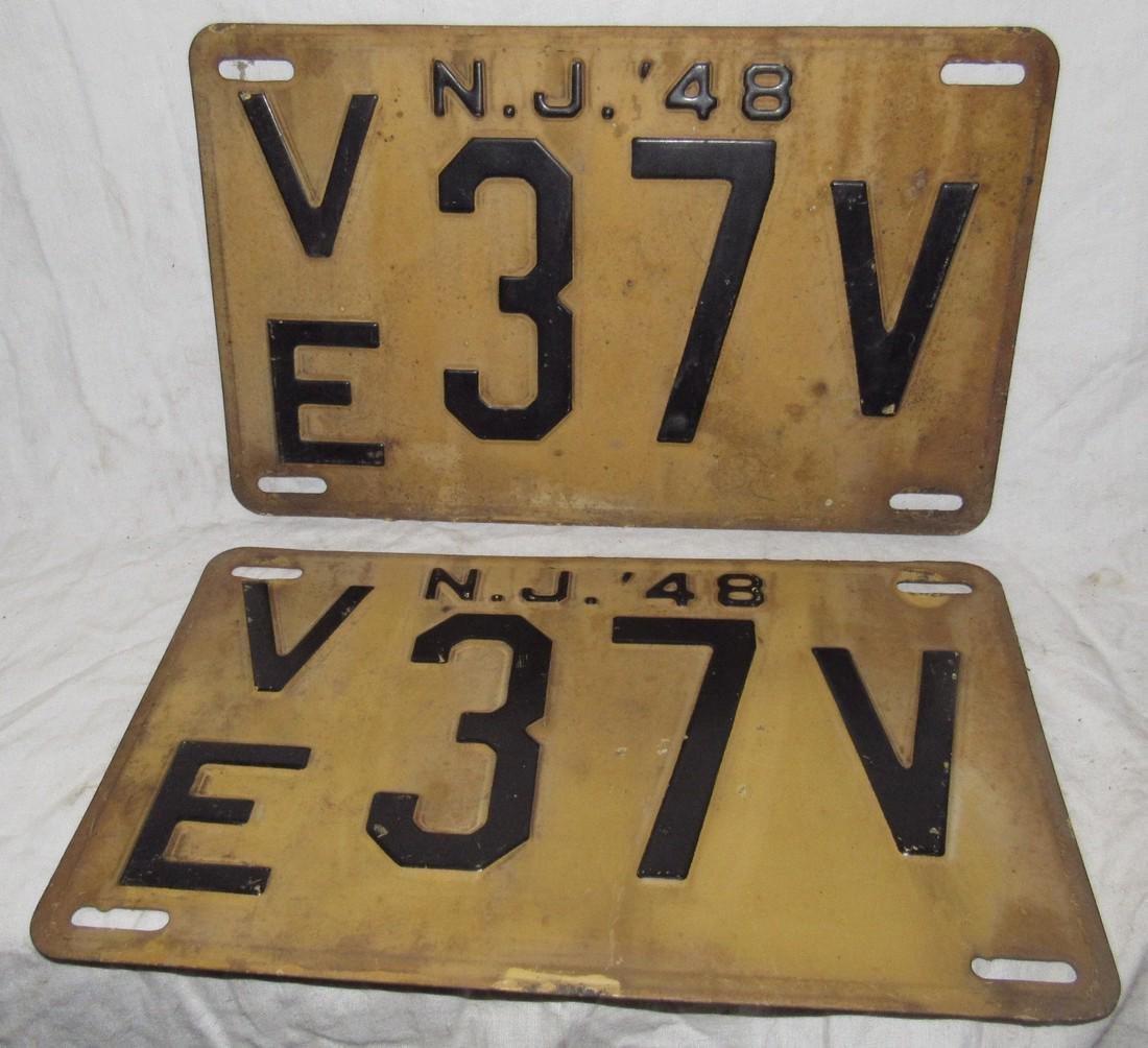 Pair of 1948 NJ License Plates