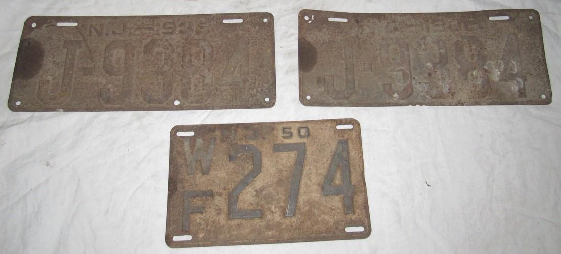 Pair of 1936 & 1950 NJ License Plates