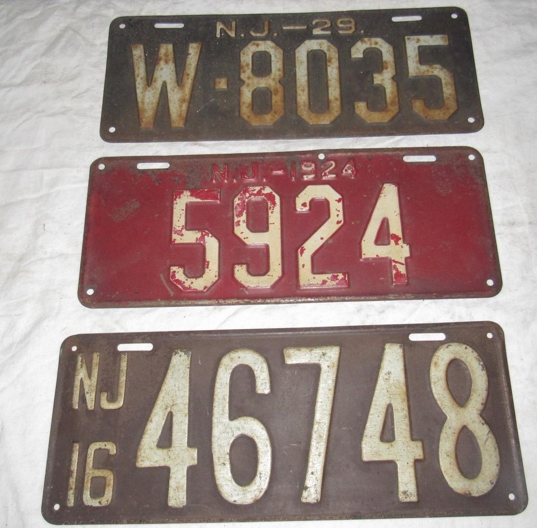 1916 1924 1929 NJ License Plates