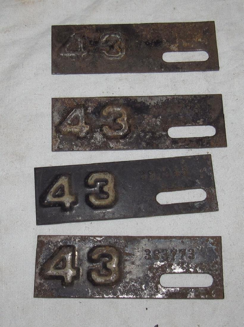4 1943 License Plate Tags