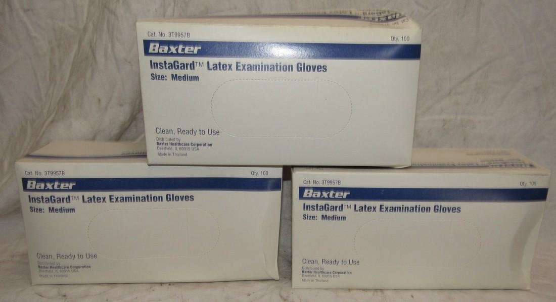 3 Boxes of Medium Baxter Latex Gloves