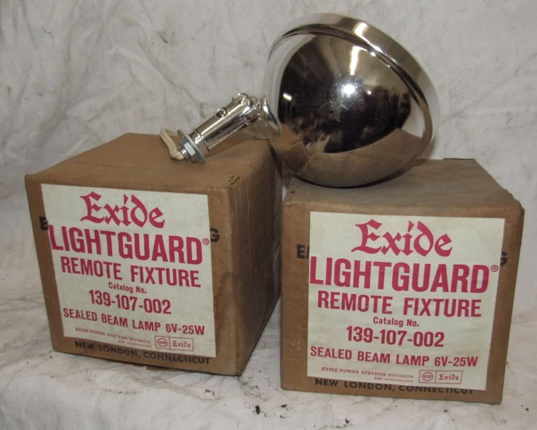 2 Exide Lightguard Sealed Beam Lamps 139-107-002 - 2