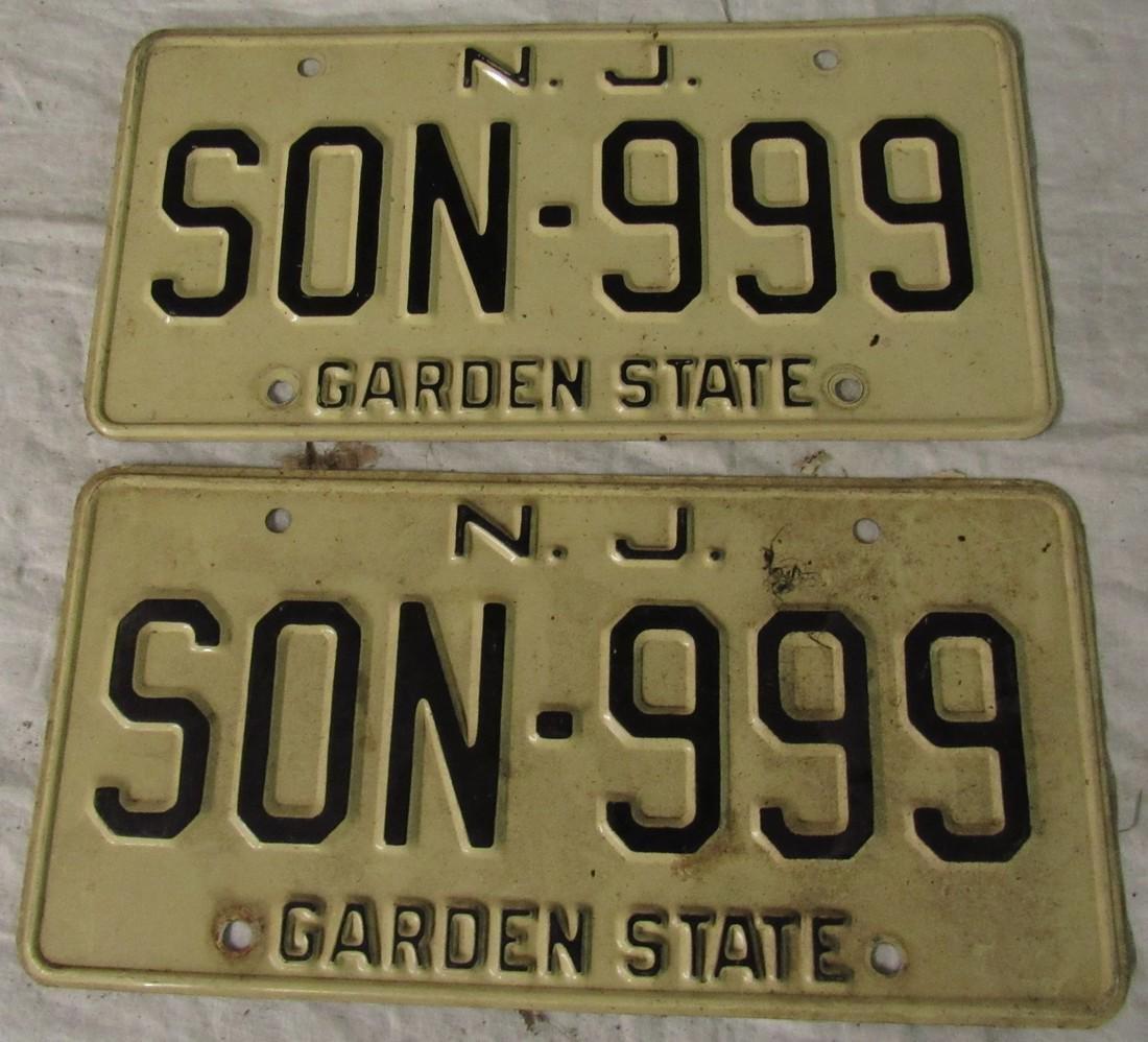 NJ SON 999 License Plates