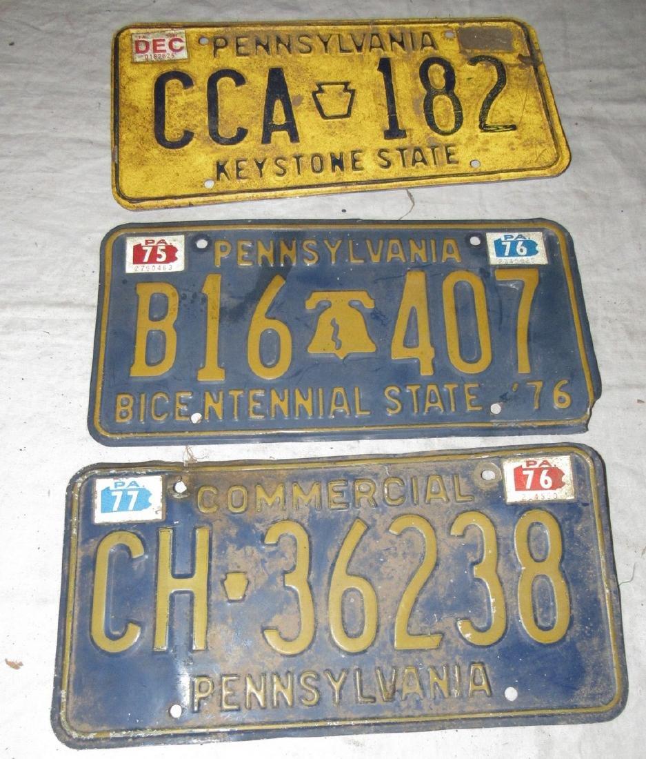 3 Pennsylvania License Plates
