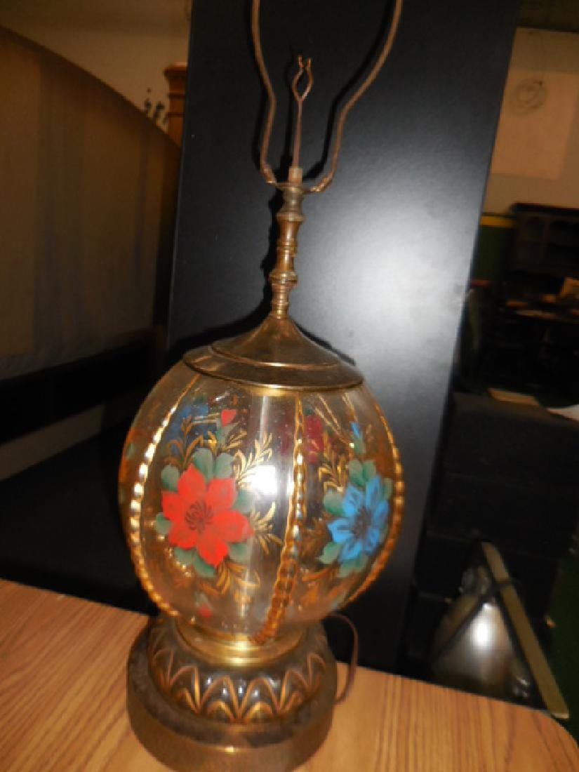 Antique Brass Floral Lamp