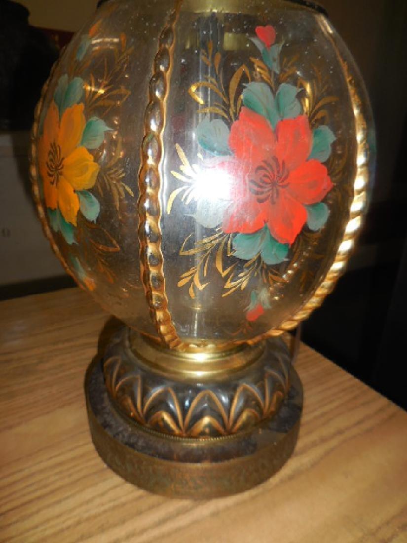 Antique Brass Floral Lamp - 3