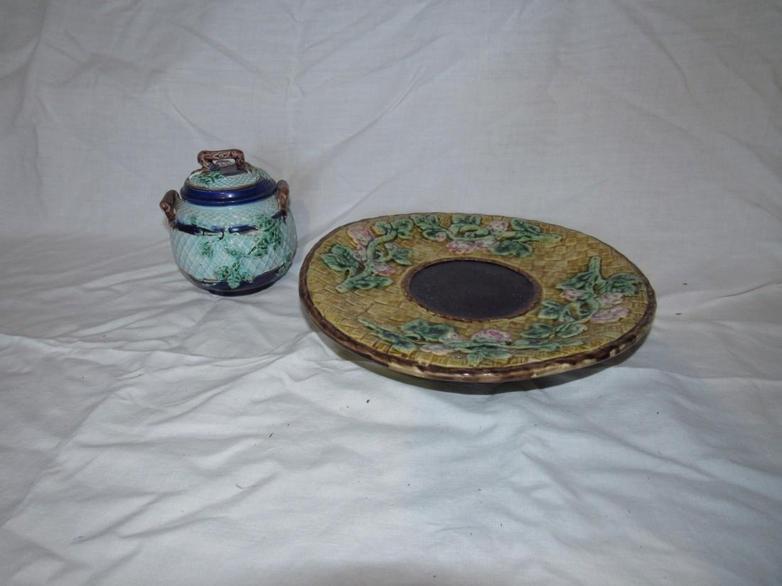 Majolica Compote and Sugar Bowl
