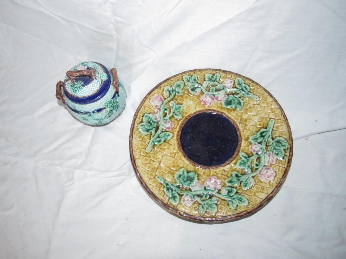 Majolica Compote and Sugar Bowl - 2
