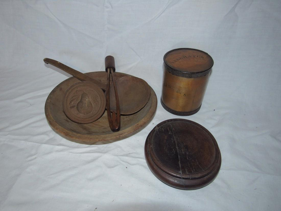 Woodenware Lot Spice Box Bowl Butter Stamp Ladle