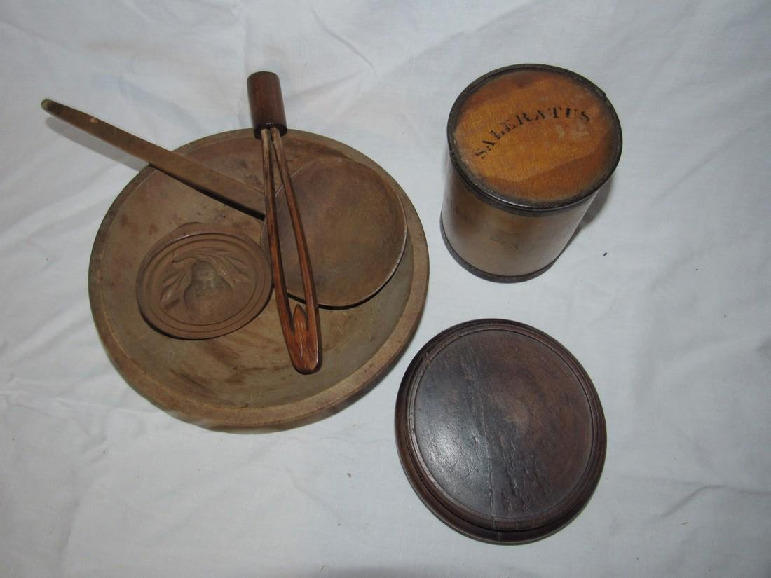 Woodenware Lot Spice Box Bowl Butter Stamp Ladle - 2