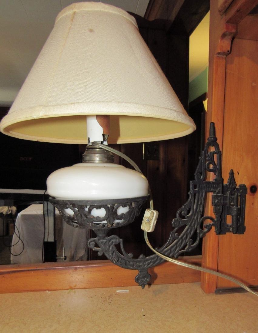 Electrified Oil Lamp & Wall Bracket