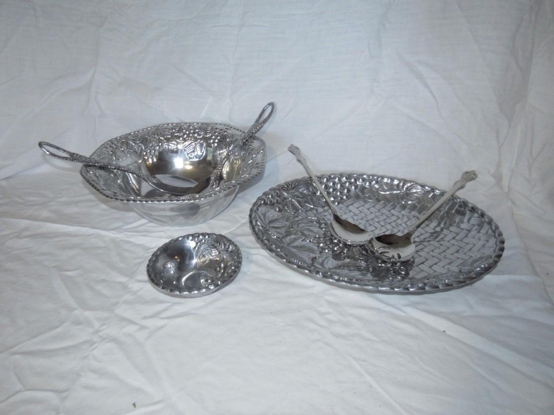 Lenox Stainless Steel Salad Bowl Fork & Spoon & Platter
