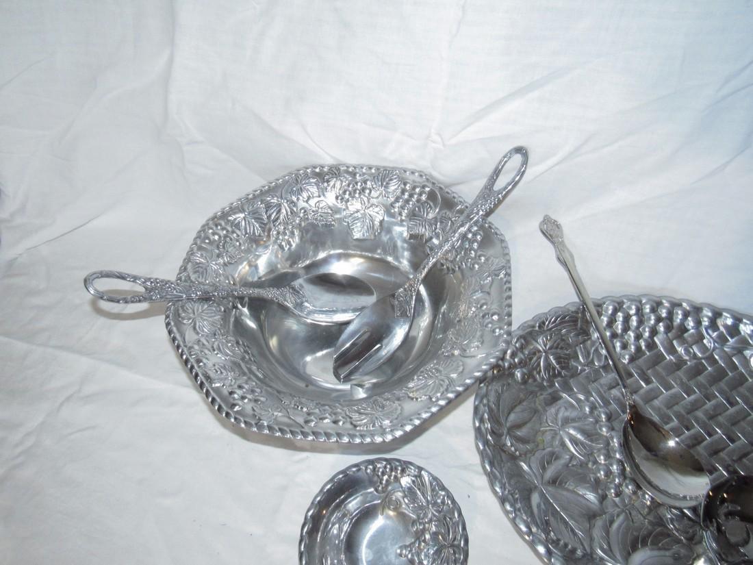 Lenox Stainless Steel Salad Bowl Fork & Spoon & Platter - 3