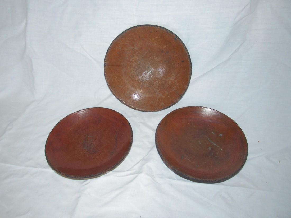 3 Redware Pie Plates