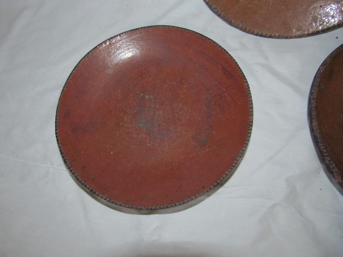 3 Redware Pie Plates - 2