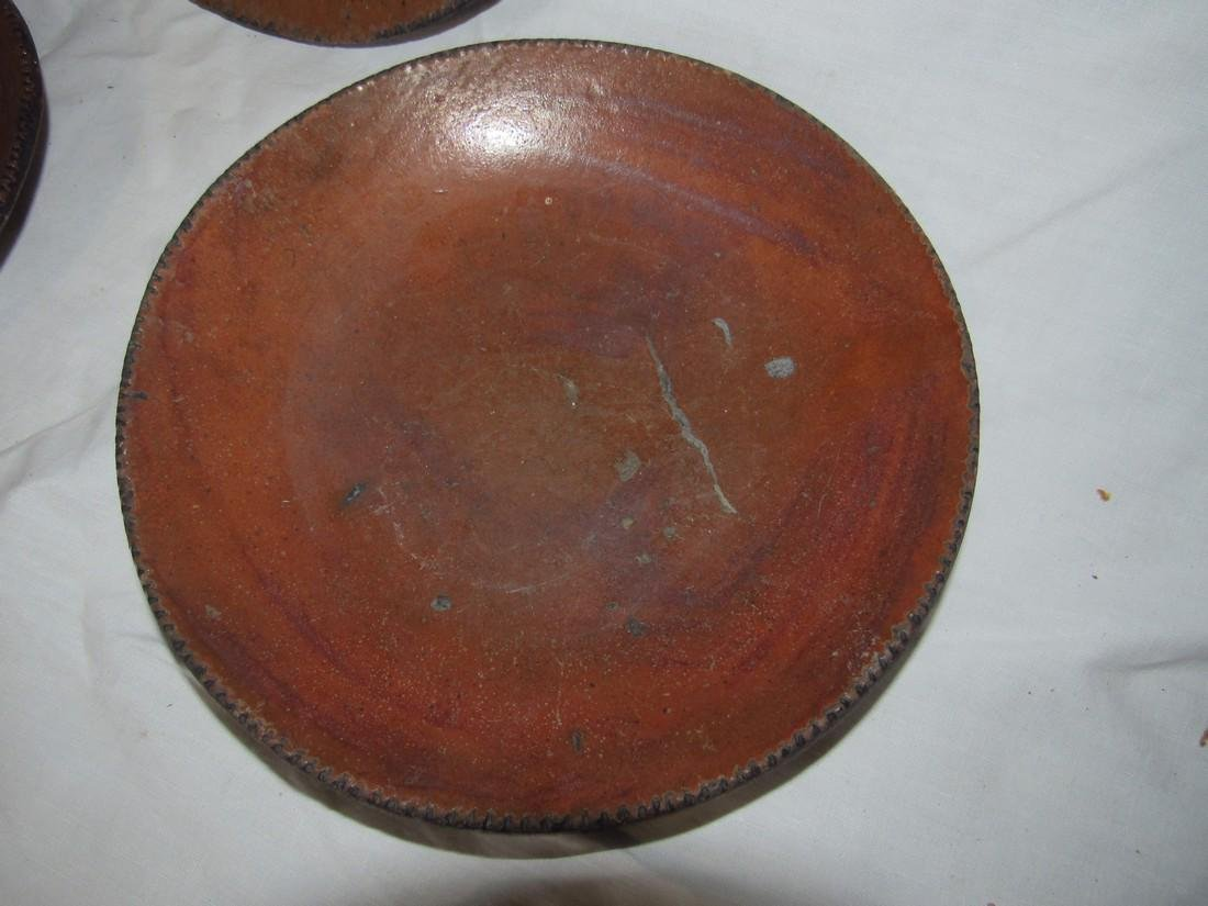 3 Redware Pie Plates - 3